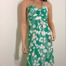Green white halter polka dot retro hippie boho maxi DRESS / SMALL