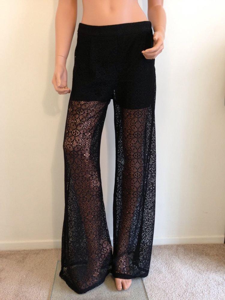 Black Lace Crochet Pants maxi long hippie bohemian SMALL