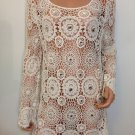 Free People Anthropologie beige Crochet  lace Top Blouse hippie bohemian MEDIUM