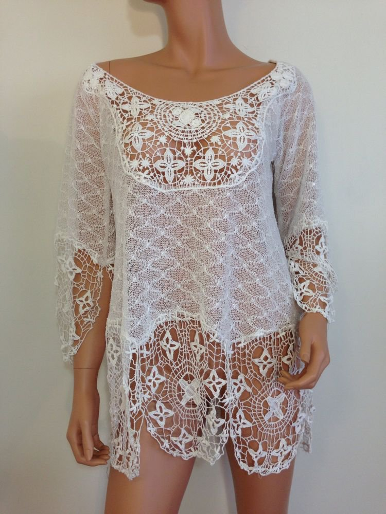 Free People Anthropologie White Crochet Lace BlouseTop bohemian hippie MEDIUM