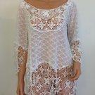 Free People Anthropologie White Crochet Lace BlouseTop bohemian hippie MEDIUM