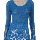 Aqua Blue crochet knit top blouse tunic navy hippie boho LARGE