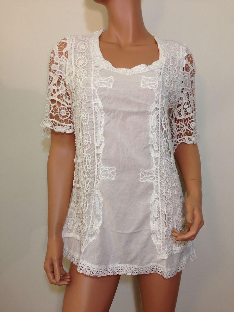 White Crochet Lace Blouse TUNIC Top hippie hobo gauze SMALL