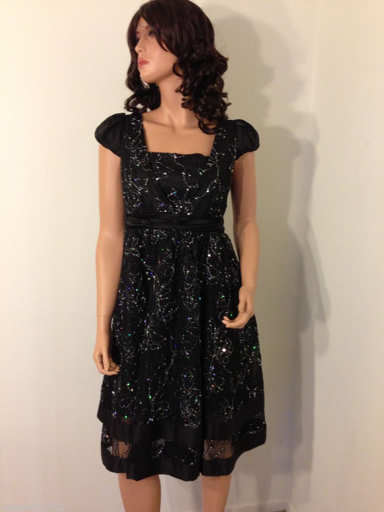 BLACK Embellished sequin vtg 50s 60s beaded prom rockabilly dress MEDIUM
