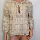 ZARA beige gold ivory cream crop tweed JACKET - LARGE