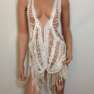 Ivory Vest Crochet Lace Blouse free spirit Top hippie people boho fringe MEDIUM