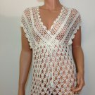 White crochet blouse top knit hippie boho gypsy SMALL
