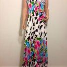 Strapless Floral Maxi Dress pop art mod MEDIUM