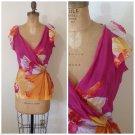 DVF Diane Von Furstenberg Floral Silk Wrap top Blouse Size 6 Medium