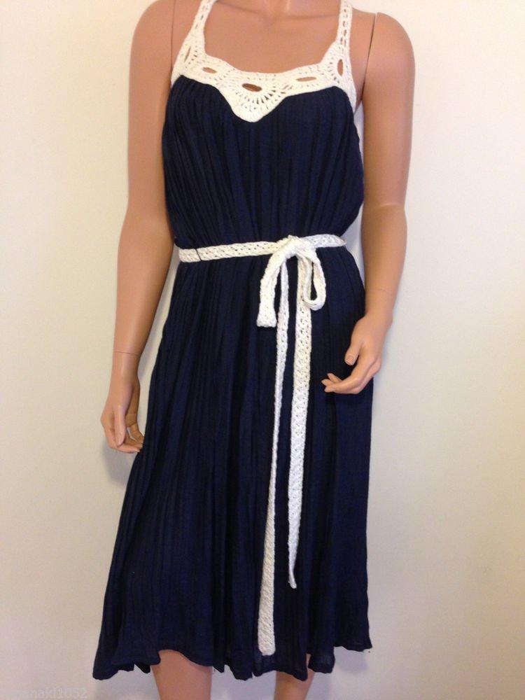 White blue crochet dress hippie boho bohemian maxi long mid calf midi MEDIUM