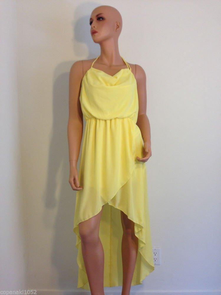 Yellow Dress Asos Topshop Asymmetrical hem high low boho bohemian romantic LARGE