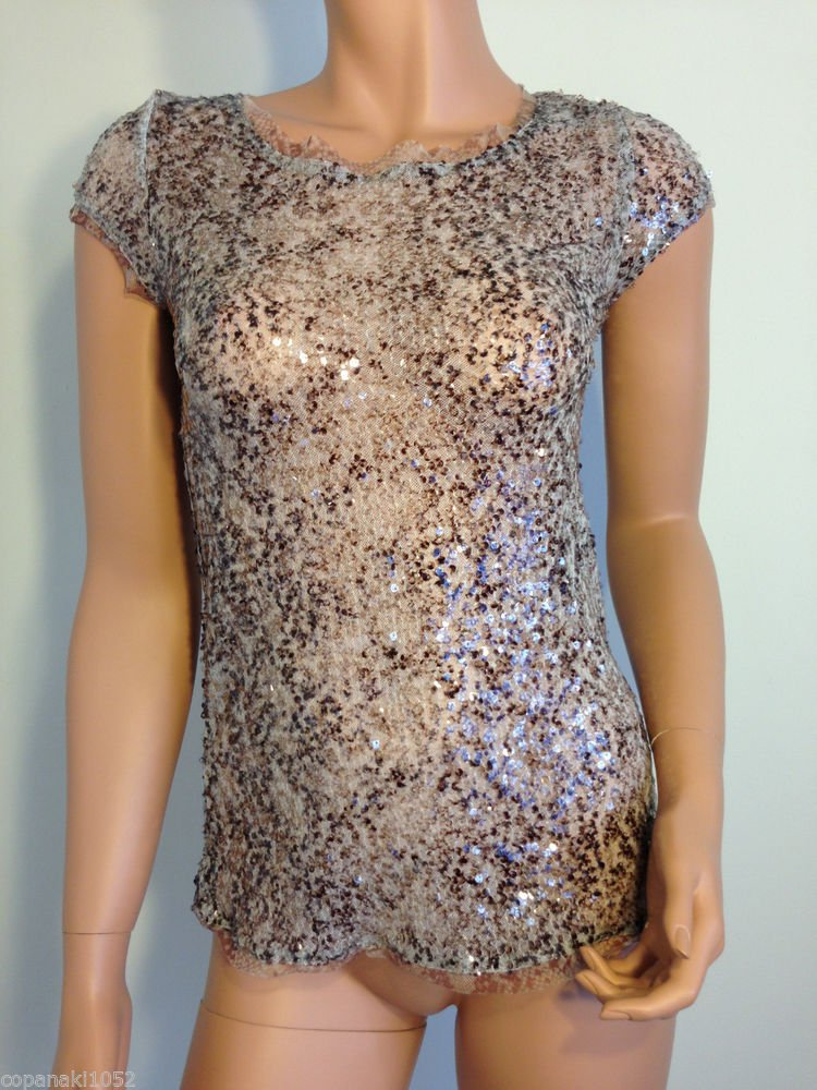 Top blouse shirt sequin retro beaded XS party cocktail extra small bead overlay