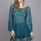 Free People Anthropologie Crochet  lace Top Blouse hippie bohemian SMALL