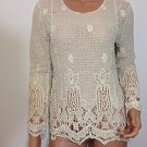 Beige crochet lace top blouse tunic hippie boho SMALL