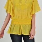 Yellow gauze tunic top blouse bohemian hippie boho SMALL