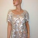 Silver lace crochet top hippie tunic blouse hobo bohemian MEDIUM