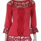 Red crochet lace tunic top blouse Bohemian MEDIUM