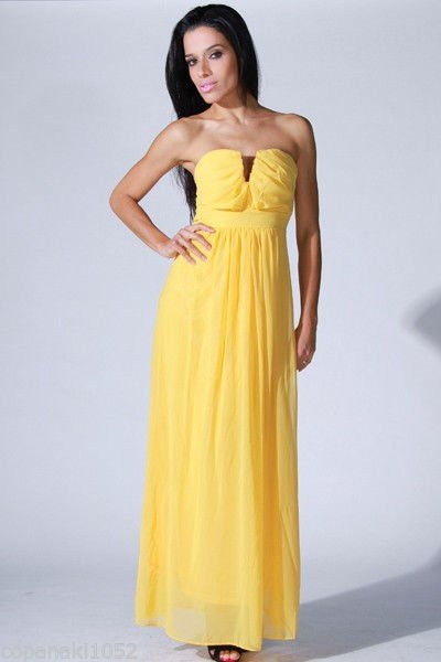 Yellow maxi dress long strapless party prom wedding XS SMALL MEDIUM