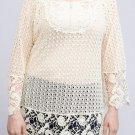 Ivory Crochet laceTop Blouse hippie bohemian MEDIUM