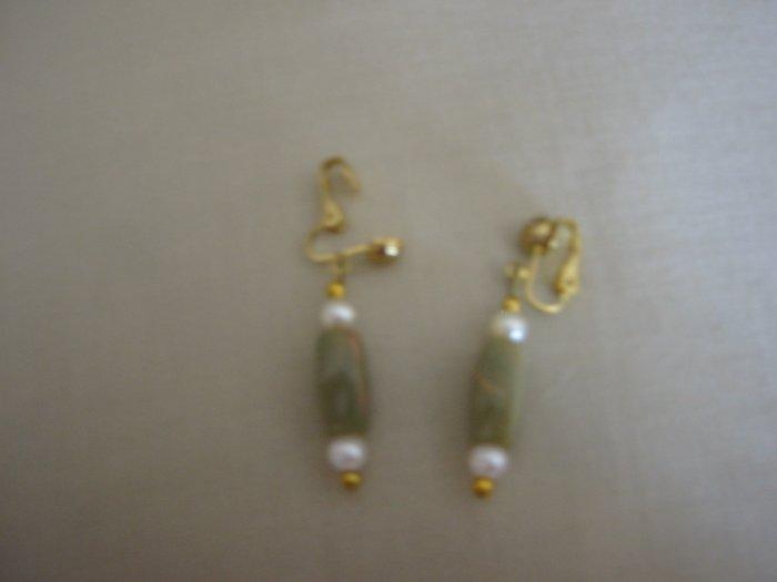Clip on green bead earrings