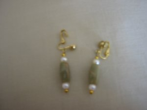 Clip on green bead earrings