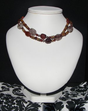crazy horse japser double strand necklace