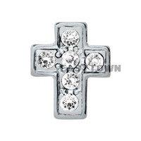 rhinestone cross floating charm