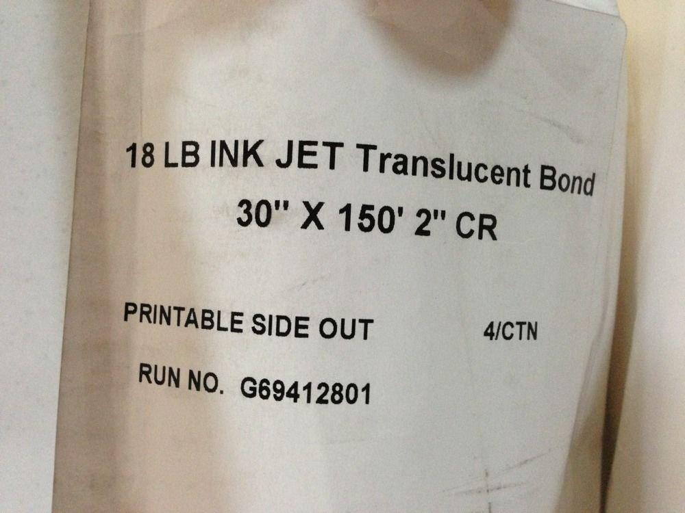 "Lot Of 2 X 18lb Ink Jet Translucent Bond Paper - 30"" x 150' 2"" CR"