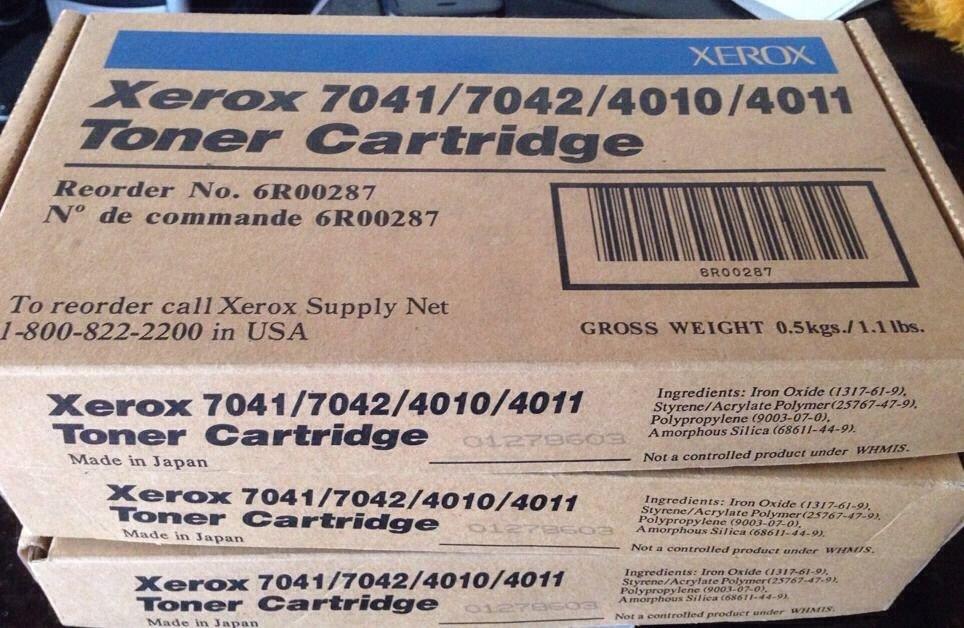 New Genuine Xerox (6R00287) Black Toner Cartridge 7041 7042 4010 4011 ~ LOT OF 3