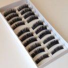 10 Pairs Natural Black Long False Eyelashes Makeup Eye Lash #003