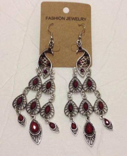 NEW  Elegant Classic BIG Red RHINESTONE Drop/Dangle   Peacock Earring Post back