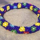 Spring Floral Bead Statement Stretch Bangle