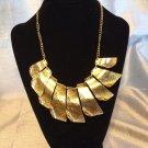 Gold Tone Brass Bib Necklace