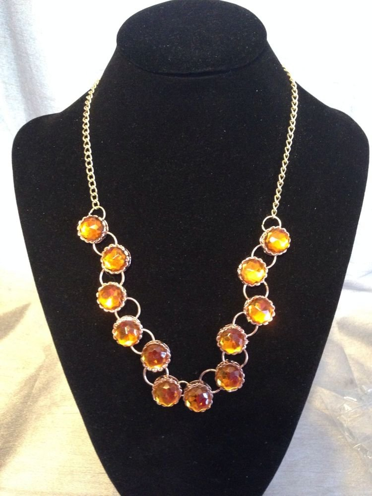 Great Gift For Mom Gold Tone Brass Necklace With Resin Stone