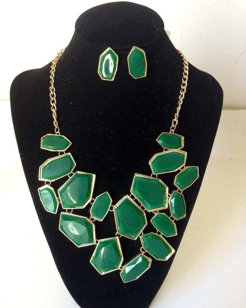 New Arrive Green Enamel panels shape large Bib Statement Necklace Earring Set