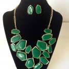 New Arrive Green Enamel panels shape large Bib Statement Necklace Earring Set