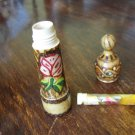VINTAGE BULGARIAN ROSE OIL OTTO ESSENCE WOODEN CASE PIROGHRAPHED GLASS BOTTLE #2