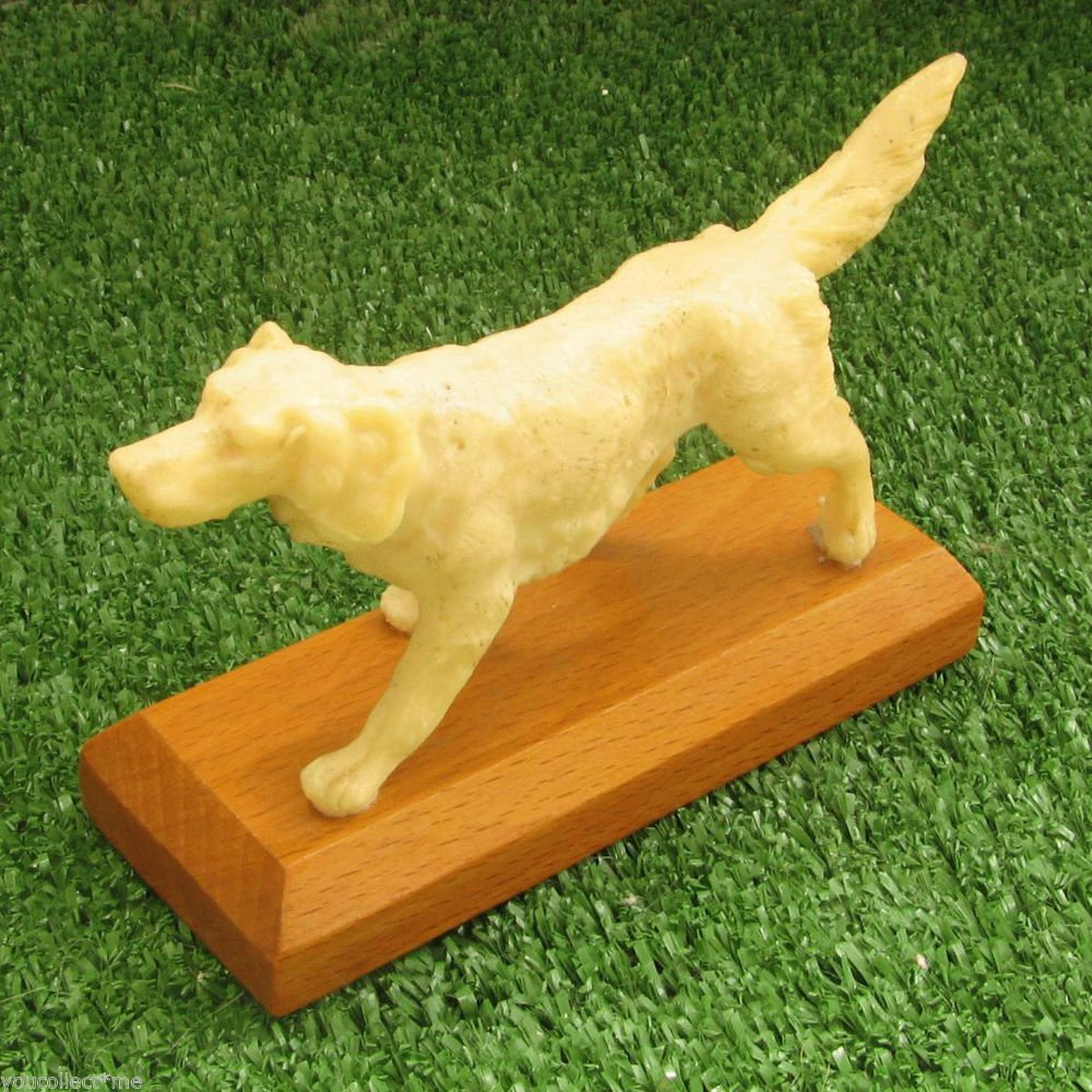 Cream Color Running Dog on Wooden Base Vintage Figurine USSR 1970s Deco Toy
