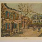 vintage post card Maurice Utrillo Painting Folded Signed Used