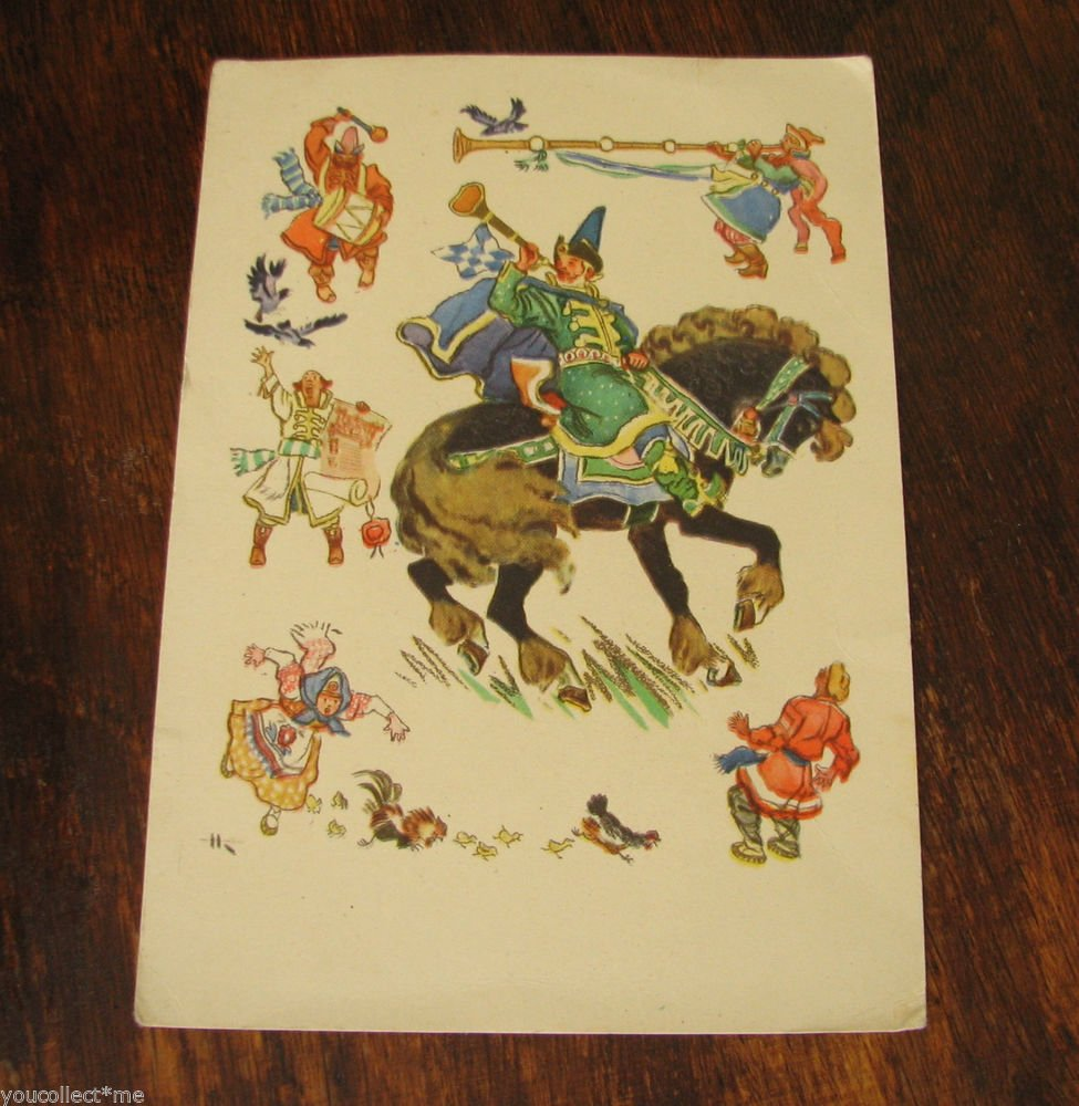 VINTAGE POSTCARD RUSSIAN USSR FOLK FAIRY TALE PAINTING HORSE RIDER HEN CHICKEN