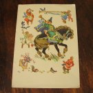 VINTAGE POSTCARD RUSSIAN USSR FOLK FAIRY TALE PAINTING HORSE RIDER HEN CHICKEN