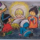 vintage post card patricia eyles christmas kids crayon painting