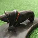 Vintage Business Card Pen Pencil Holder Cow Horn Made Dog Figurine Man Cave Deco