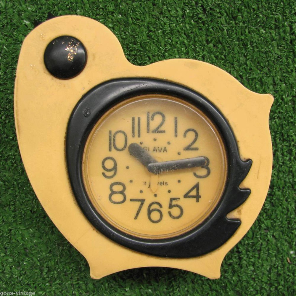 Yellow Bird Deco Nice Vintage Alarm Clock SLAVA Soviet USSR 11 Jewels Works #5