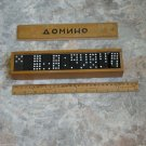 Vintage Bulgarian BIG Dominoe 55 Pieces Set Wooden Box Signed Cyrillic Letters