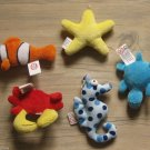 PLUSH SEAHORSE CRAB CLOWN FISH TURTLE STAR LOT 3 INCHES KEY CHAIN CHARM W/ LOOP