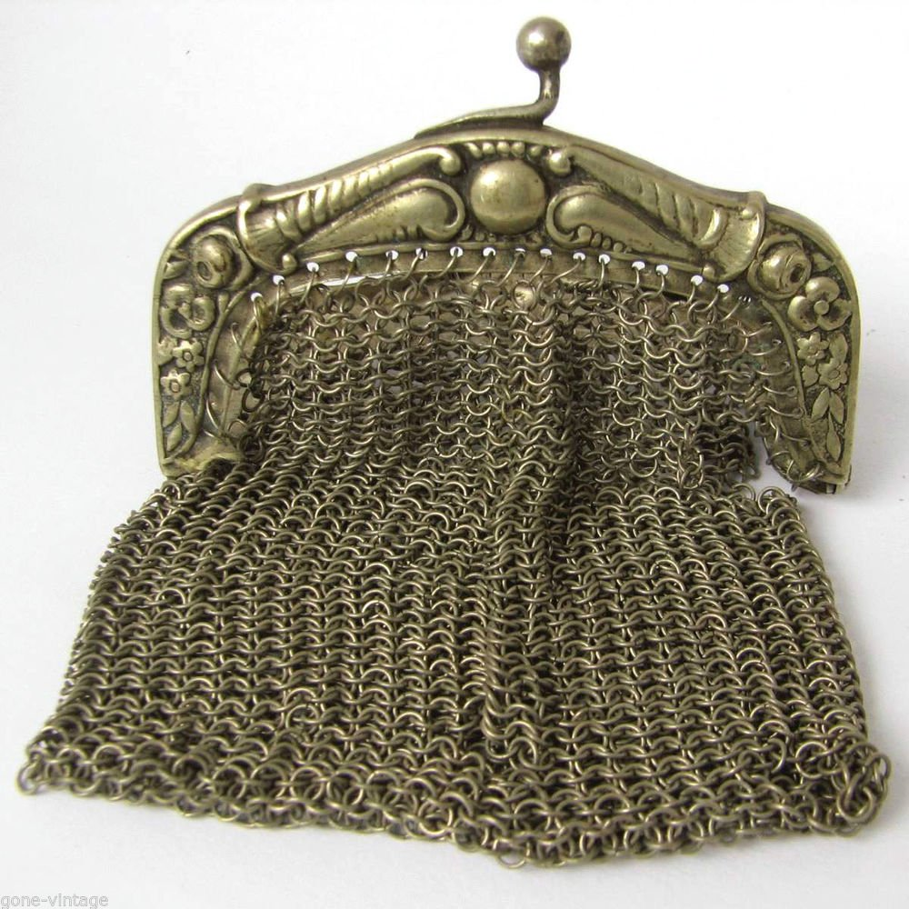 Antique Silver Color Mesh Ladies Purse Vtg Small Chain Link Evening Coin Bag #2