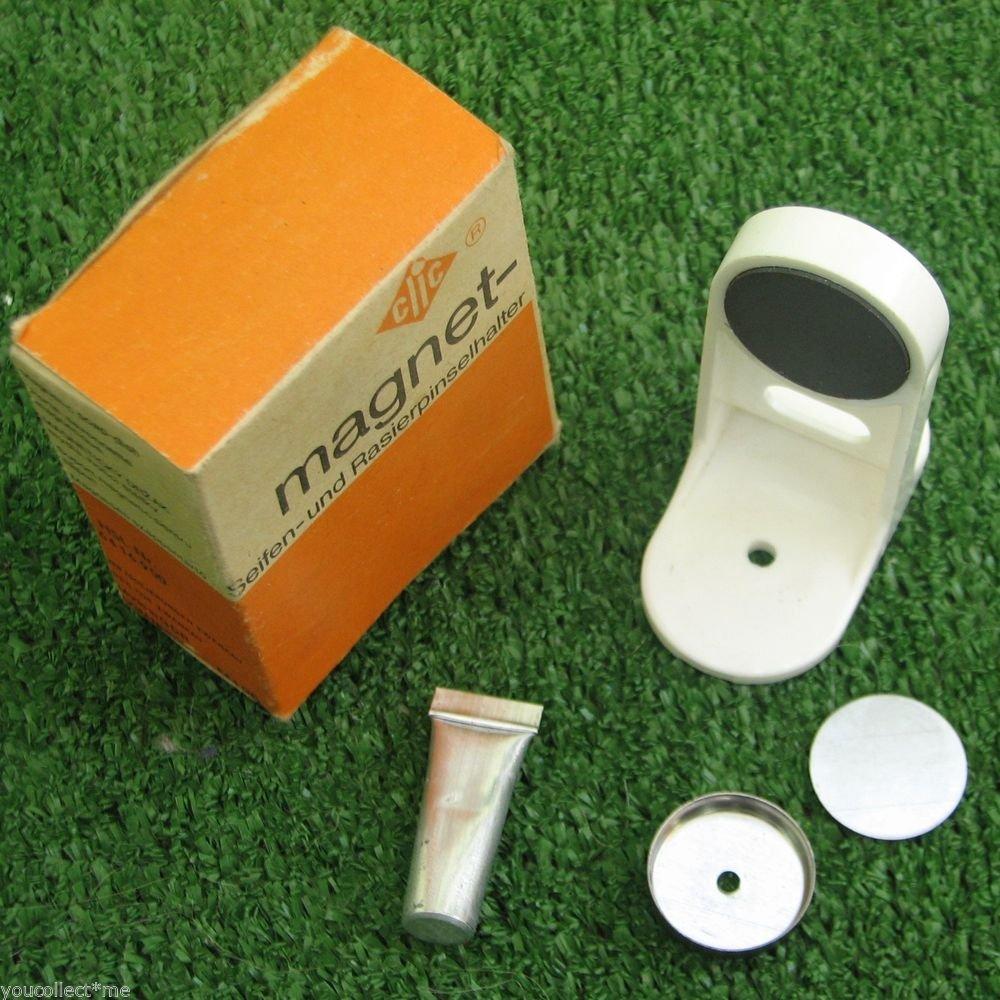 Clic Magnet Vintage Shave Shaving Brush & Soap Holder Boxed Mint NOS Germany DDR