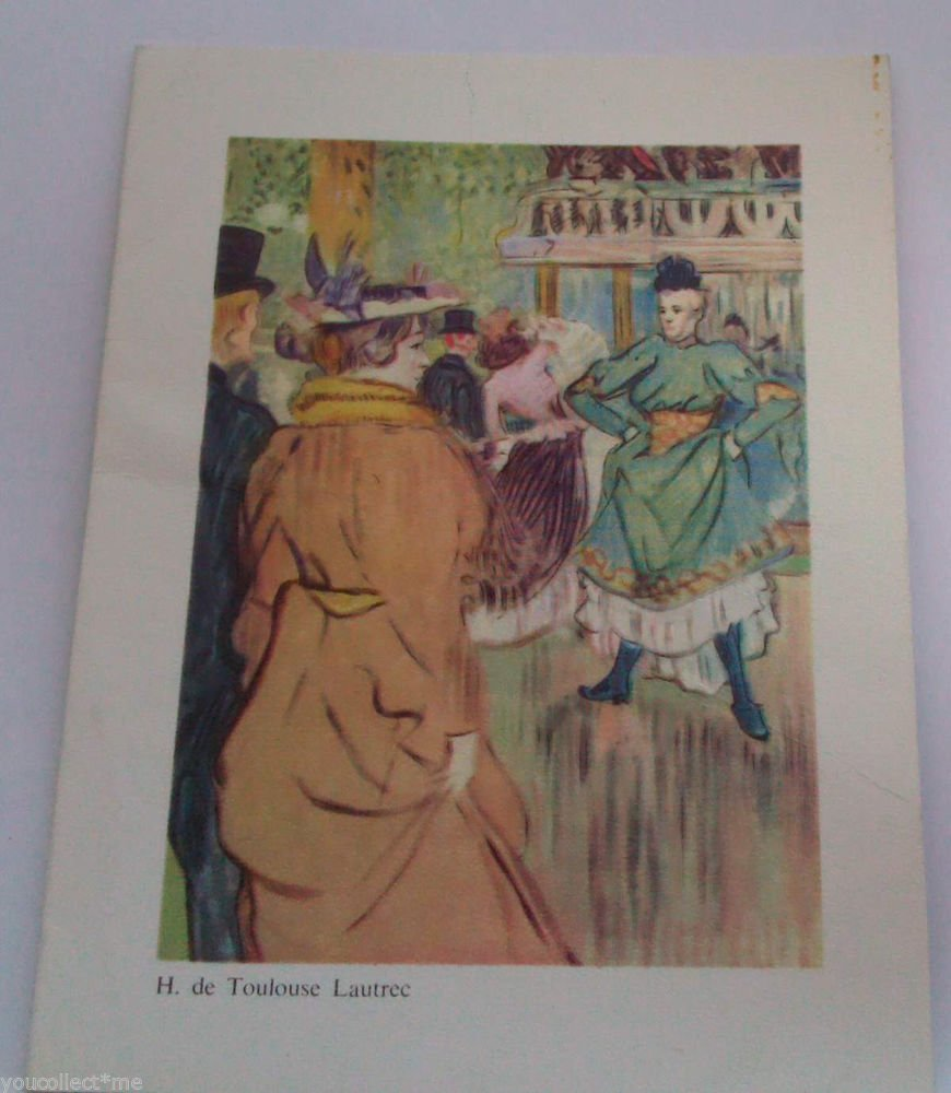 vintage post card Henri de Toulouse Lautrec Au Moulin Rouge Painting