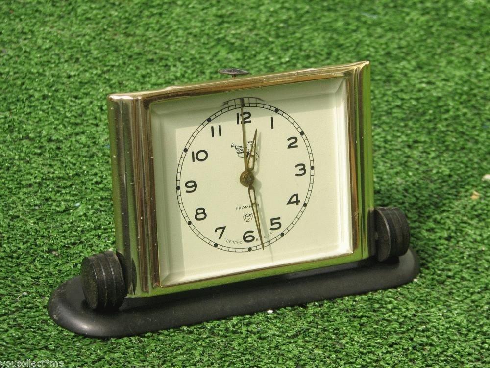Serviced Vintage Gold & Beveled Glass Alarm Clock PIONEER Soviet USSR Works Fine